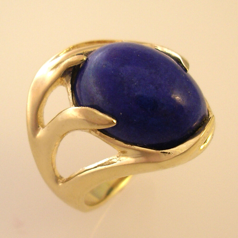 Womens Oval Lapis Ring In Solid 14k Yellow Gold Select