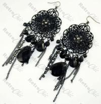 BIG BLACK lace LONG gothic CHANDELIER EARRINGS victorian ...