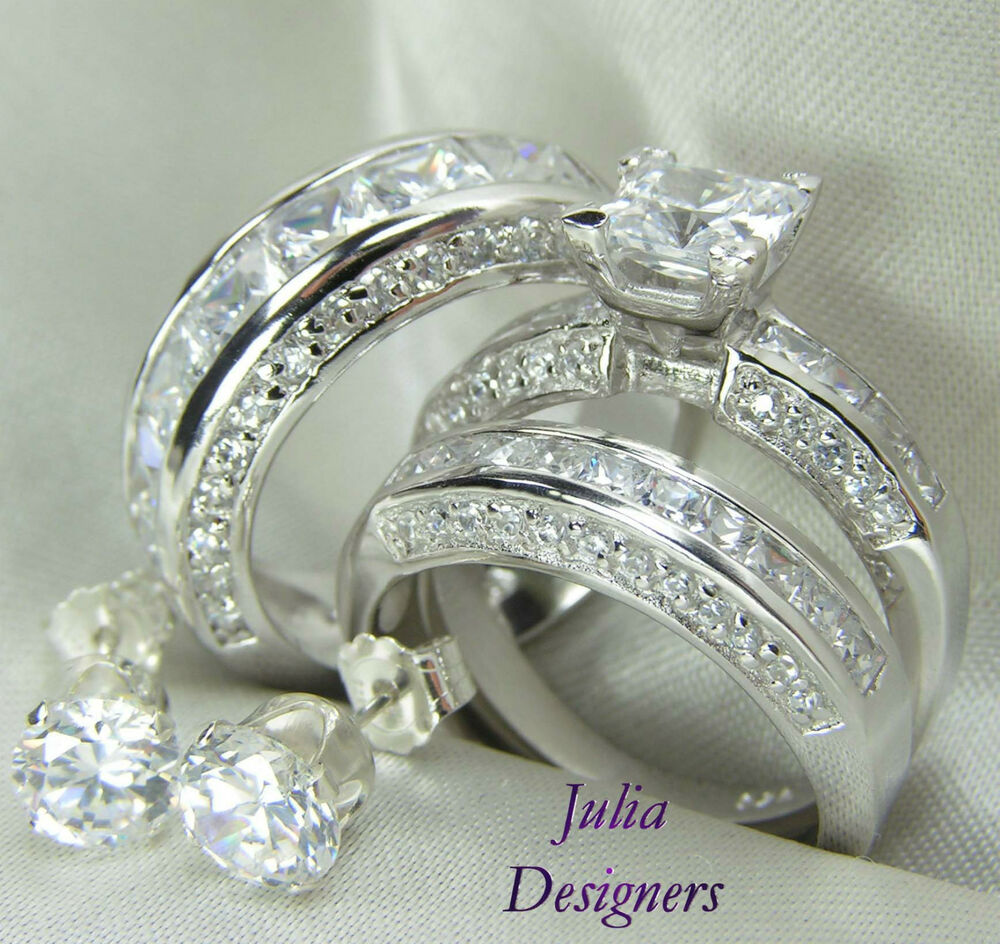 His Amp Her Matching 3pcs Engagement Wedding Ring Set