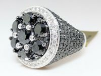 New Mens White Gold Black Diamond Solitaire Ring Pinky
