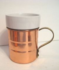 Copper Coffee Mug Cup Porcelain Insert with Brass Handle ...
