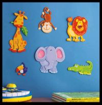 Kids Room Art 3D Wall Decor Baby Jungle Nursery Stickers ...