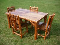 Sassafras Walnut Rustic Log Kitchen table + 4 chairs Amish ...