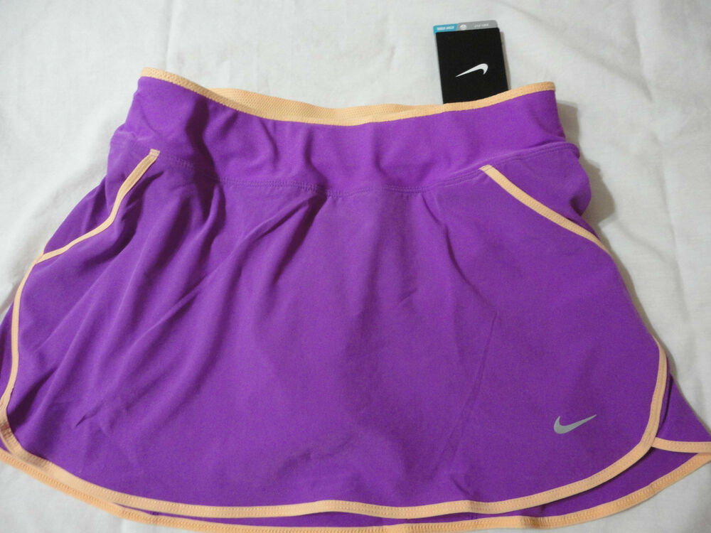 NIKE WOMENS NEW PURPLE RUNNING Amp TENNIS SKIRTS WITH PANTS DRI FIT SIZE L Amp XL EBay
