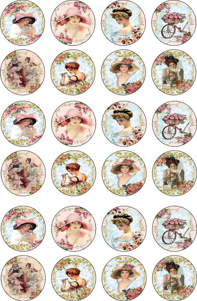 Bottlecap Victorian Women Round And Oval Glossy Stickers