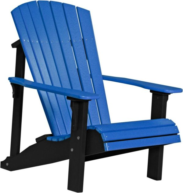 Poly Furniture Wood Deluxe Adirondack Chair Blue & Black Outdoor Lawn
