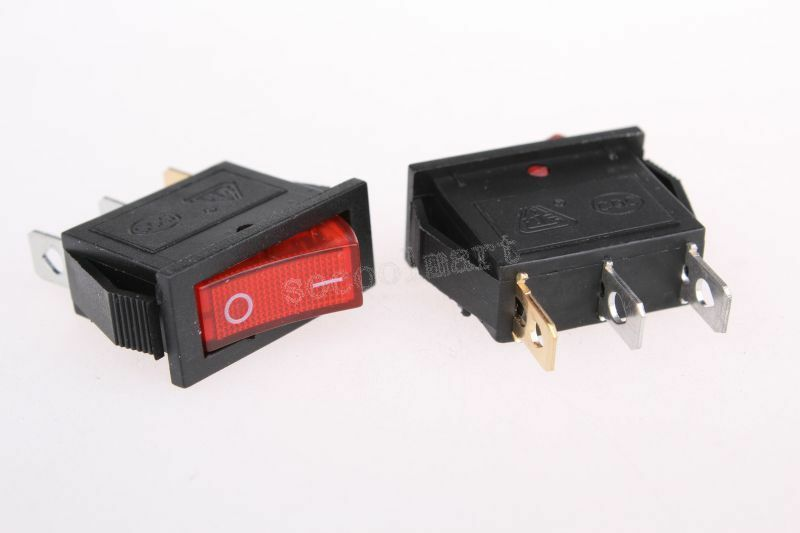 Illuminated Red Spst Rocker Switch Onoff 10 A 125 V Ac 85c