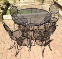 Wrought Iron Patio Garden Table & 4 Chairs Set. Mid ...