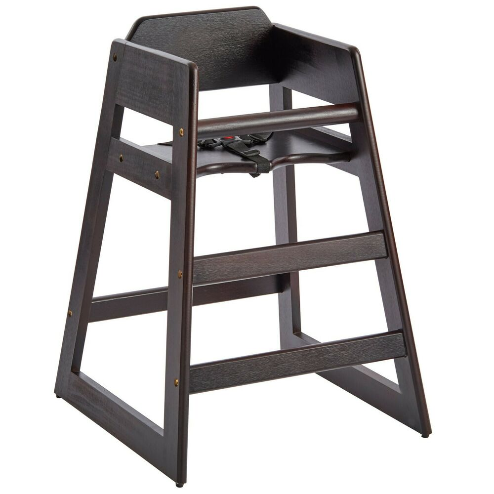 New Restaurant Style Wooden High Chair with Dark Finish  eBay