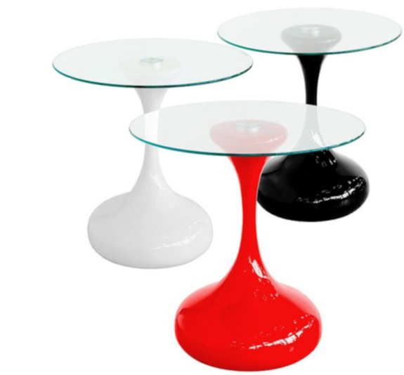 BLACK WHITE RED GLASS HOUR SIDE END LAMP COFFEE TABLE ...