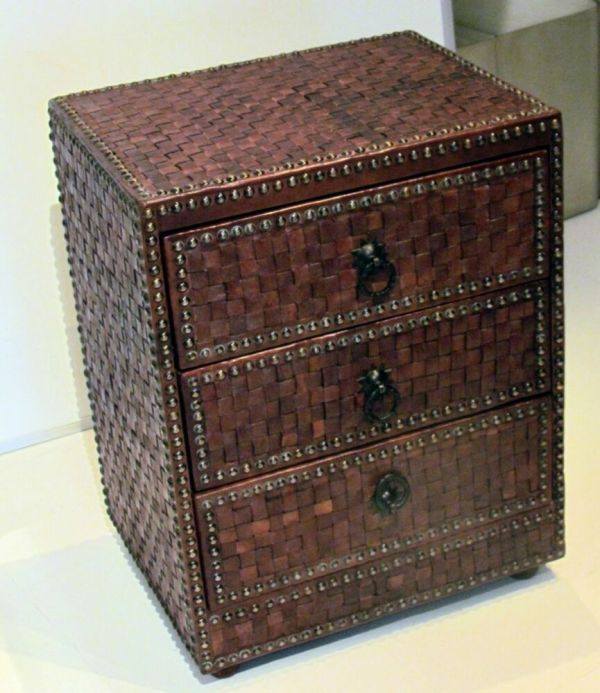 Moroccan Woven Leather 3-drawer Braided Dresser In