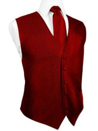 Red Silk Faille Tuxedo Vest with Matching Long Tie and Bow
