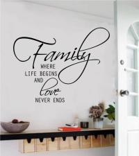 Family Where Life Begins Removable Vinyl Wall Art Decal ...