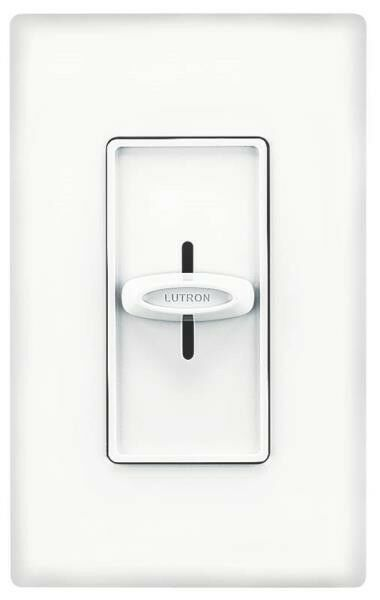 NEW LUTRON S-600H-WH WHITE SLIDE ON OFF SINGLE POLE DIMMER