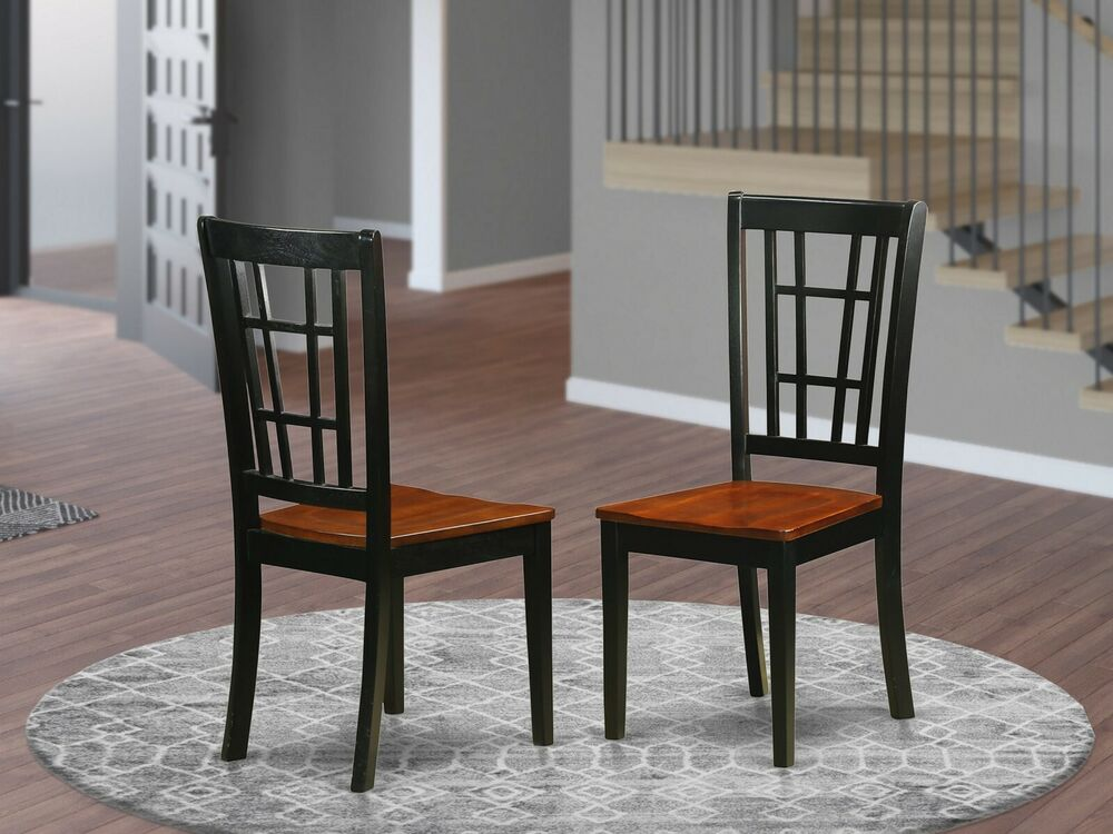 Set of 2 Nicoli dinette kitchen dining chairs w plain