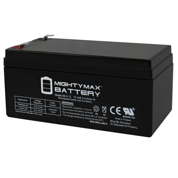 Mighty Max Ml3-12 12v 3.4ah Ups Replacement Battery Apc -ups Es Be350g