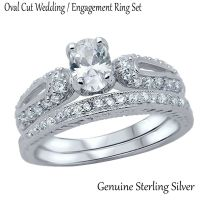 Oval Cut White Sapphire Wedding / Engagement Genuine ...