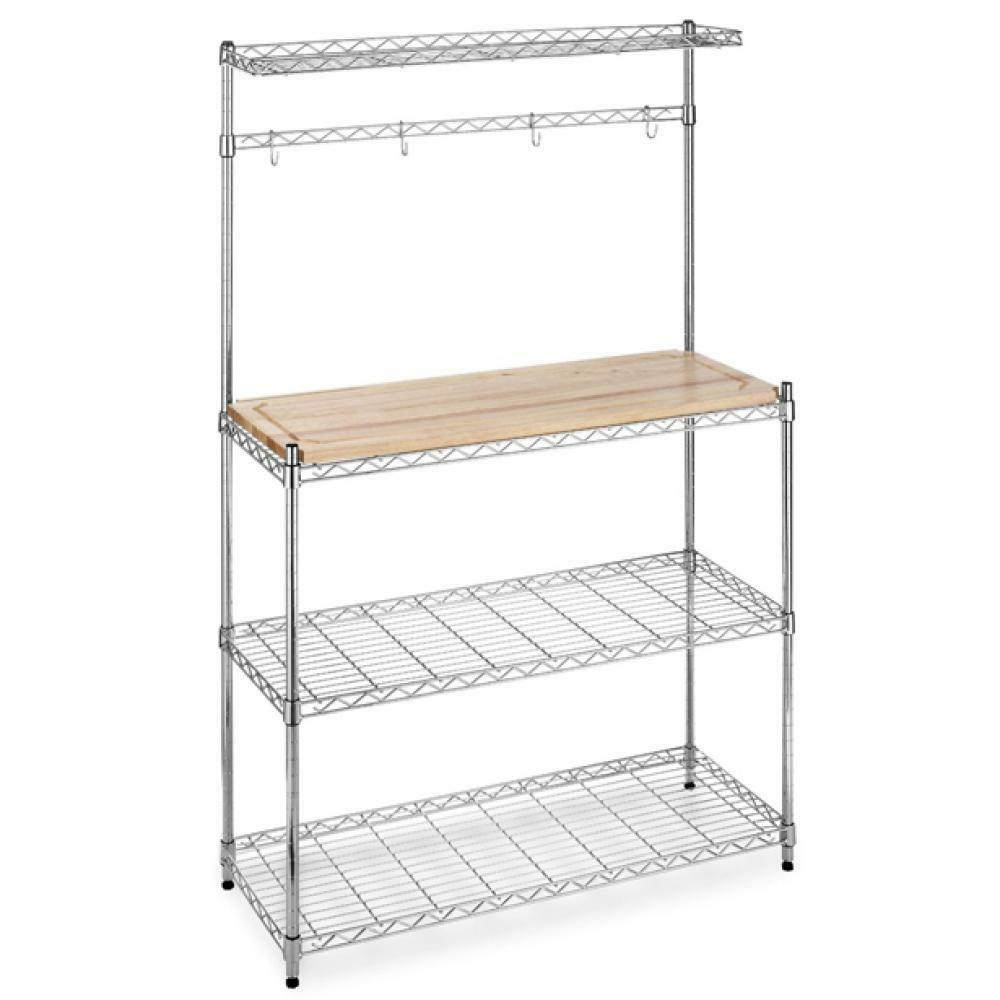 New Chrome Bakers Rack with Cutting Board and Storage