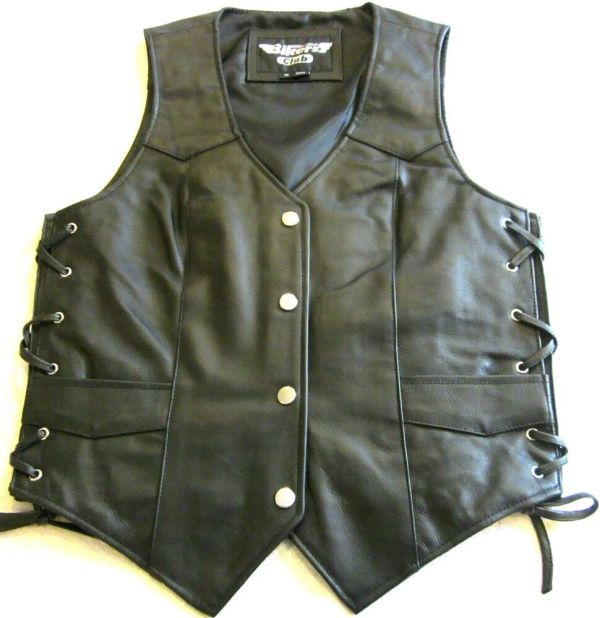 Womens Soft Black Leather Side Lace Motorcycle Biker Club