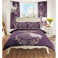 French Paris Script Duvet Cover - Beige Purple Bedding ...