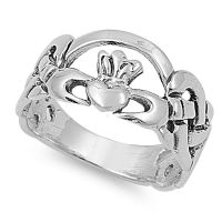 .925 Sterling Silver Irish Celtic Heart Claddagh Promise ...