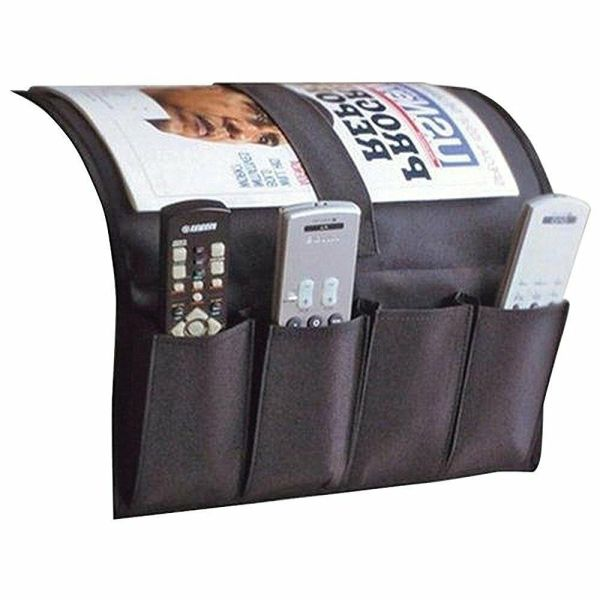 Remote Caddy Fabric Sofa Couch Chair Arm Holder Tv Control Bedside Organizer