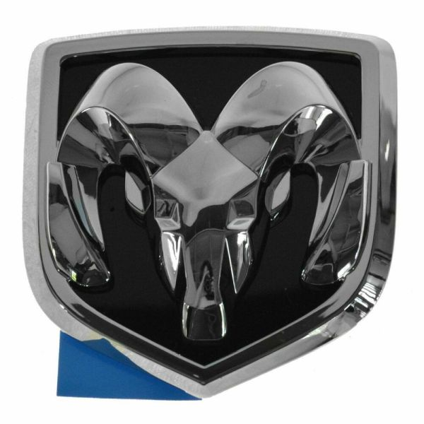 Mopar Ram Head Grille Emblem Chrome & Black Front 04