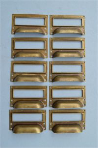 SET OF 10 BRASS FILING CABINET LABEL HANDLES FILE DRAWER ...