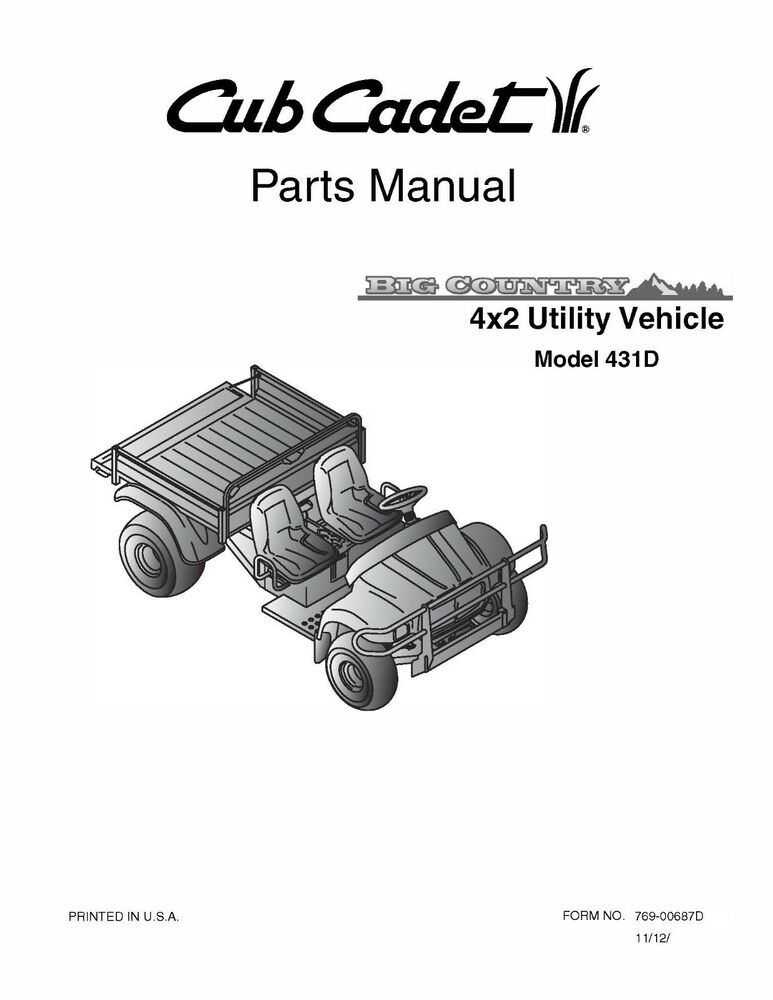 Cub Cadet Big Country 4x2 Utility Vehicle Parts