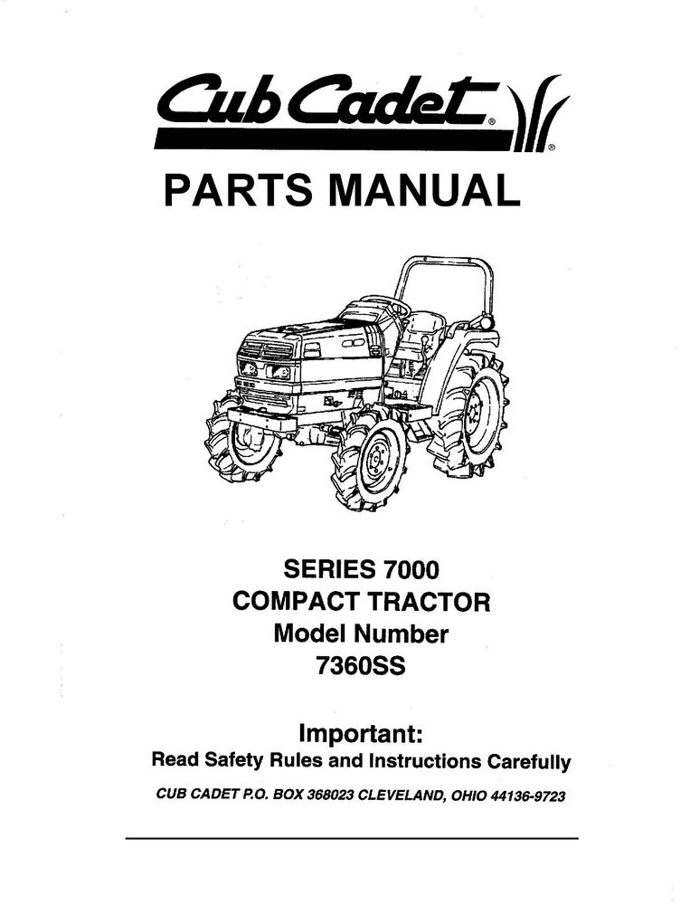 Cub Cadet 7000 Series Compact Lawn Tractor Parts Manual