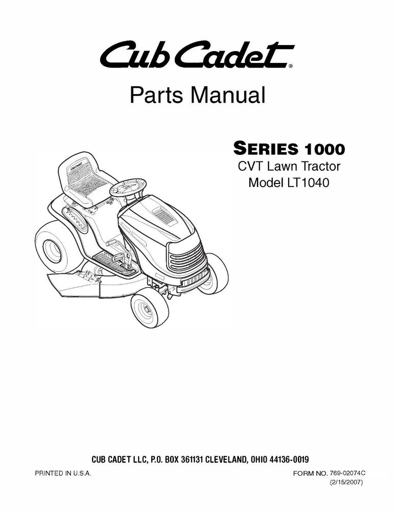 Cub Cadet 1000 Series CVT Lawn Tractor Parts Manual Model