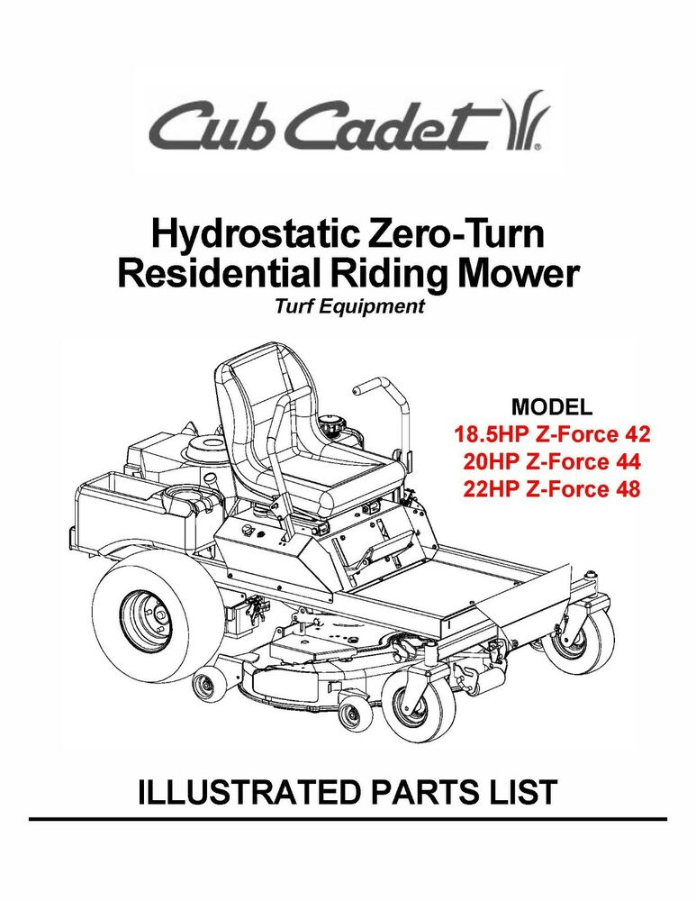 Cub Cadet Hydrostatic ZeroTurn Riding Mower Parts Manual