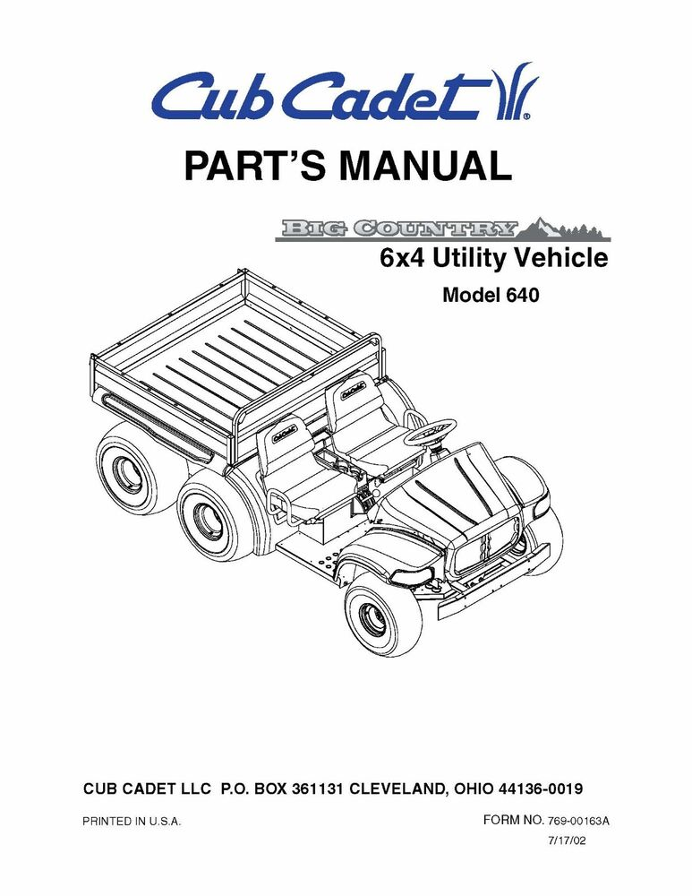 Cub Cadet Big Country 6x4 utility vehicle Parts Manual No