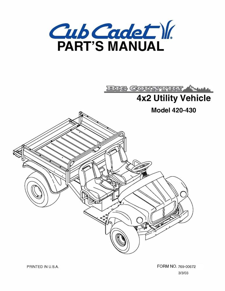 Cub Cadet Big Country 4x2 utility vehicle Parts Manual No
