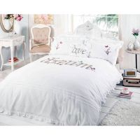 Dream Shabby Chic Duvet Cover - Embroidered Applique White ...