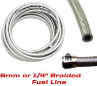 "Steel Braided Hose 6mm 1/4"" Fuel, Oil, Water, Ethanol ..."