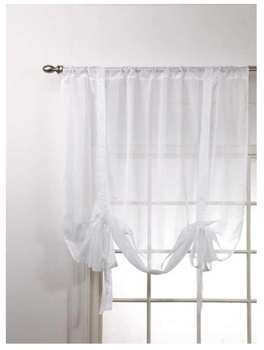 New Stripe Shade Curtain Sheer Window Decor Tie Up White