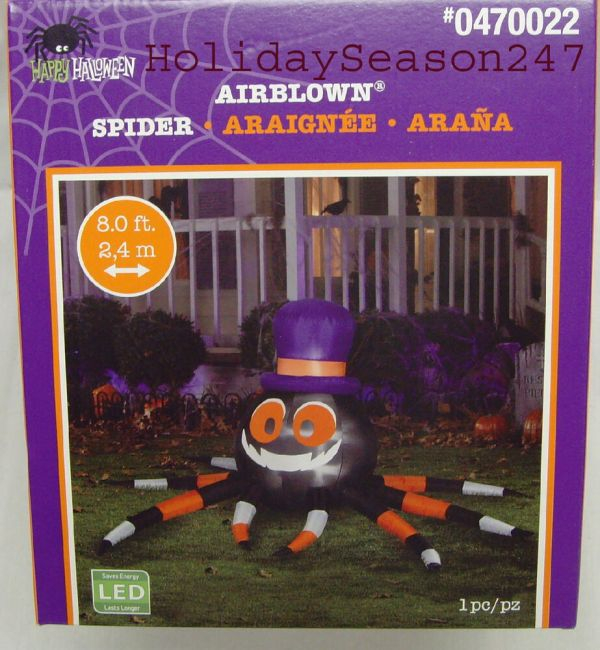 Gemmy Halloween Giant 8ft Wide Led Lighted Spider Airblown
