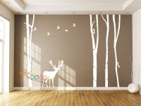 Wall Decor Decal Sticker large birch tree trunk forest 4 ...