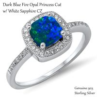 Princess Cut Promise Engagement Dark Blue Fire Opal Silver ...