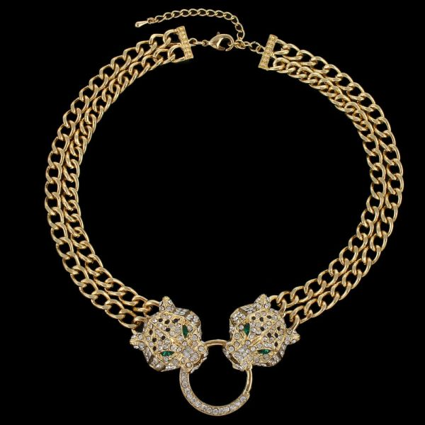 Gorgeous18k Gold Gp Panther Head Animal Necklace Clear