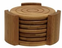 New Bamboo 6 Coasters Set Kitchen Drinks Cups Glasses ...