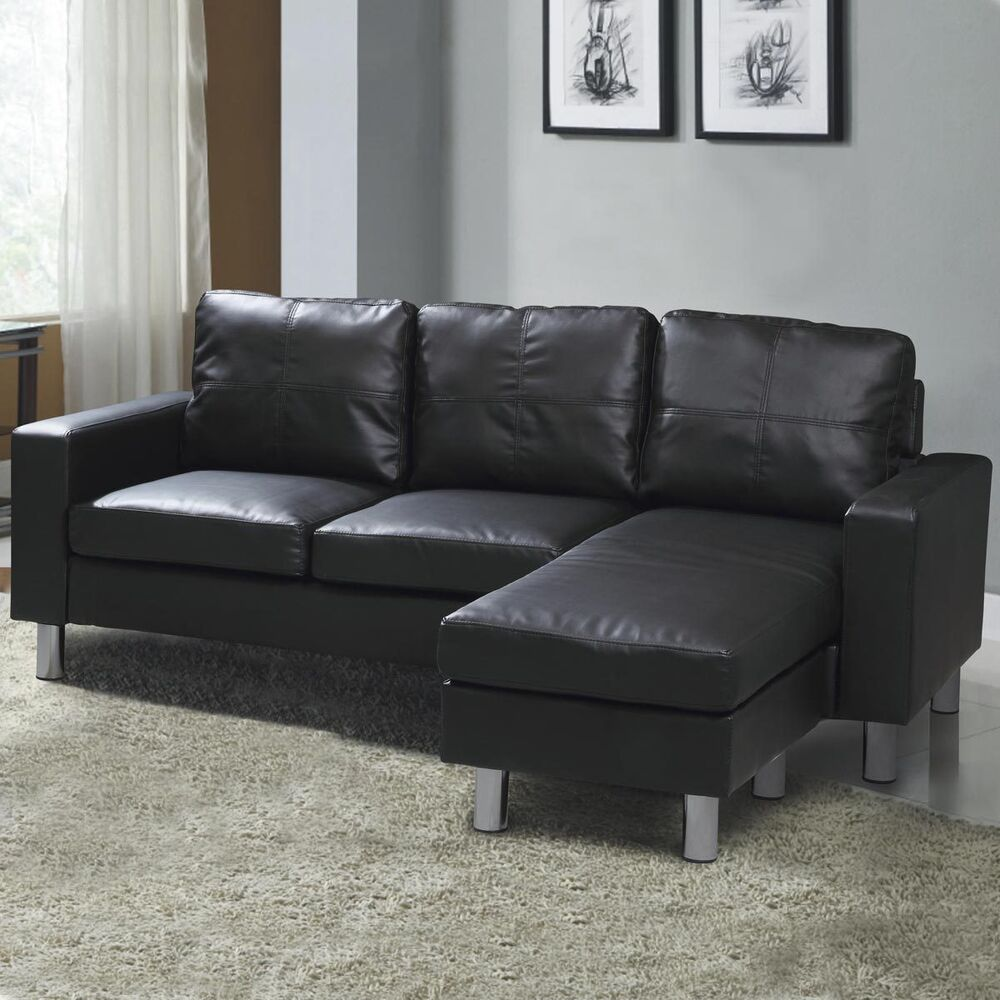 cheap leather corner sofa uk outdoor covers nz modern compact l shaped settee black faux ...