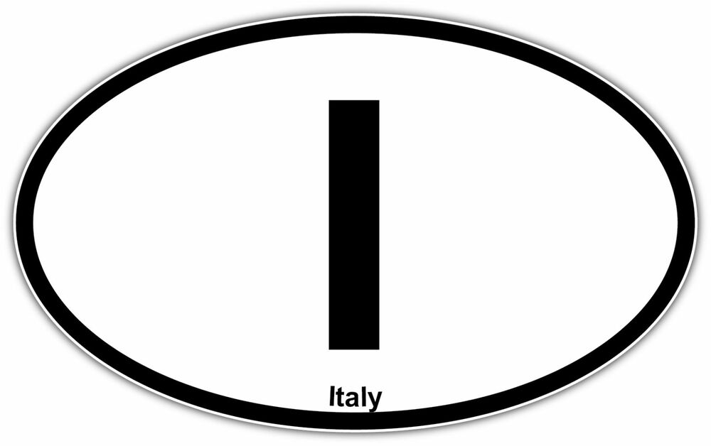 Italy Vehicle Country Code Oval Car Bumper Window Sticker