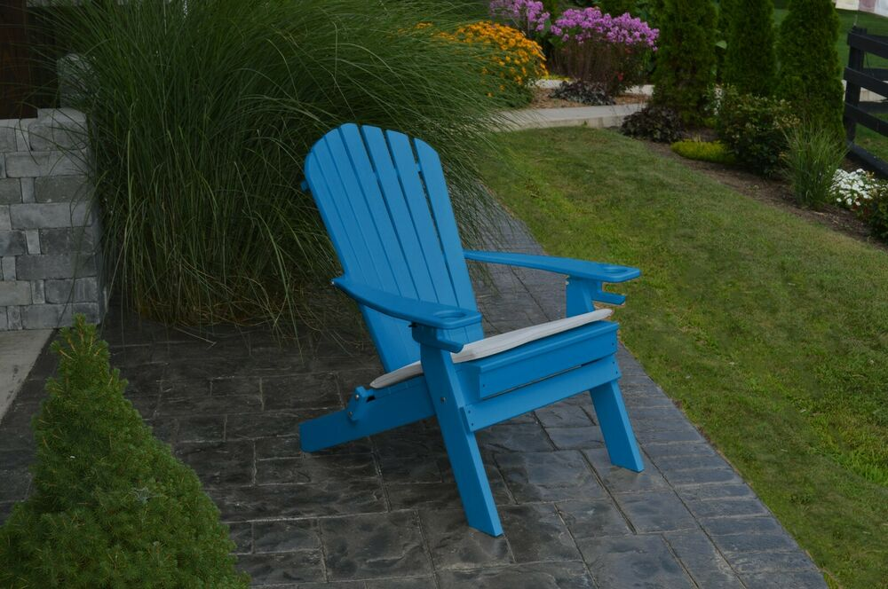 yellow adirondack chairs plastic banquet tables and suppliers new deluxe 7 slat poly lumber wood folding chair blue -2 cup holders   ebay