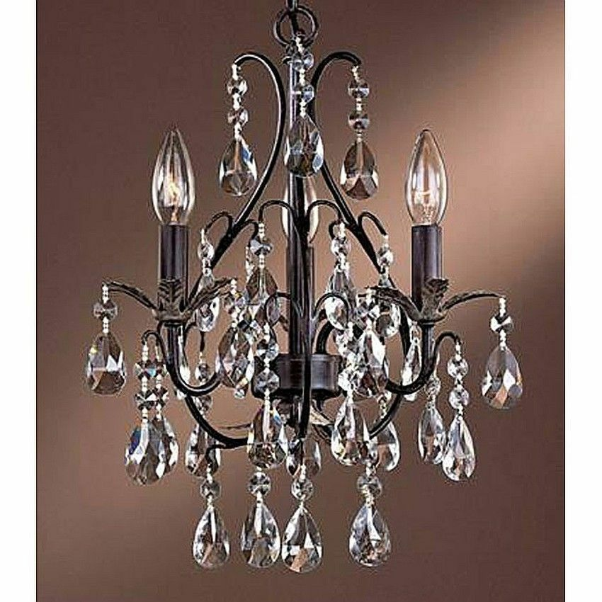 SMALL CHANDELIER CRYSTAL 3 LIGHT Antique Copper Ceiling