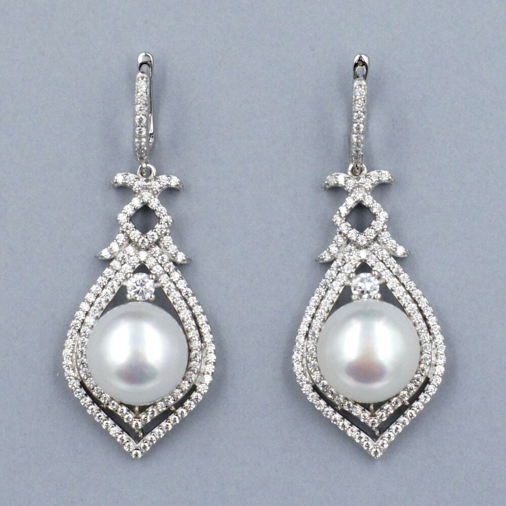 Genuine Cultured Freshwater Pearl Sterling Silver CZ