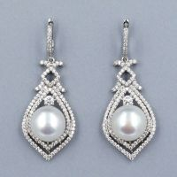 Genuine Cultured Freshwater Pearl Sterling Silver CZ ...