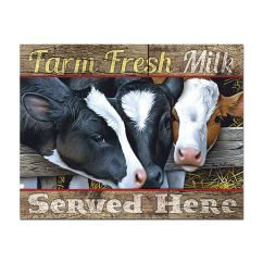 Rustic Country Kitchen Decor Moen Faucet Farm Fresh Milk Served Here Cows Tin Sign ...
