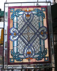 Stained glass window - geometric floral design | eBay